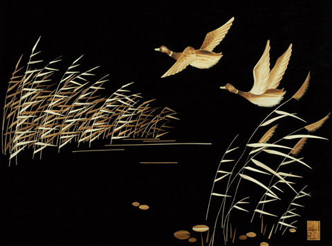 Reed painting of low-flying ducks 3d texturing download