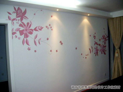 Hand-painted wall texture, flowers, simple painted walls