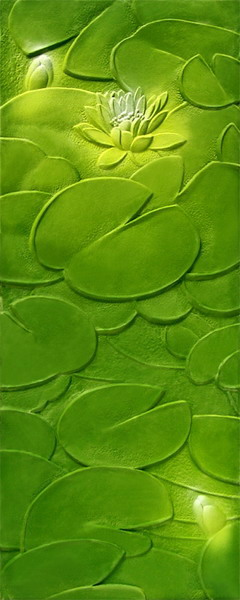 Art Glass Collection:  Green Lotus Pattern Glass Texture Maps Download Free