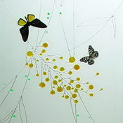Elegant butterflies glass painting texture