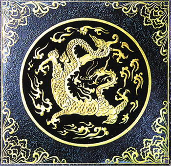 Golden Dragon glass painting texture