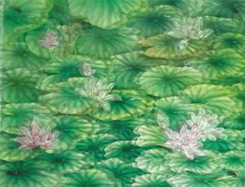 Green lotus pond glass stained map