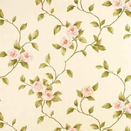Light yellow fresh floral wallpaper