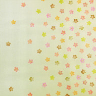 Light green flowers stained wallpaper
