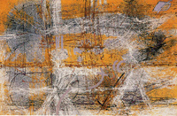 Yellow gray abstract figure paintings wallpaper