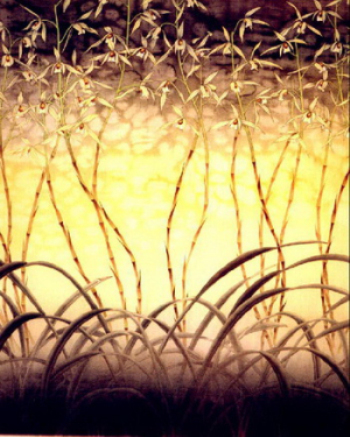 The evening of reed marshes stained-glass map
