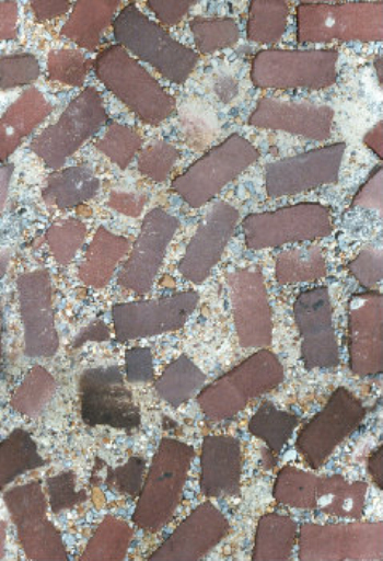 Masonry paving material collected