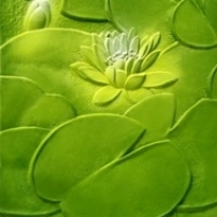 Art Glass Collection:  Green Lotus Pattern Glass Texture Maps