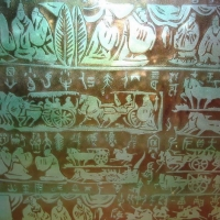 Ancient Character and Pattern Bas-Relief Glass Partition Texture Map
