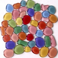 The colorful oval-shaped crystal clear glass mosaic 3D texturing