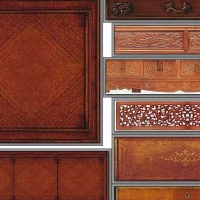 Decorative tiles carved mahogany Home 3D texturing download