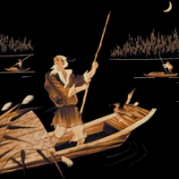 Reed painting of ferry the fishermen 3D post-mapping
